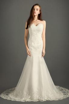 Robe de mariée Sirène Sans Manches Couvert de Dentelle Traîne Mi-longue