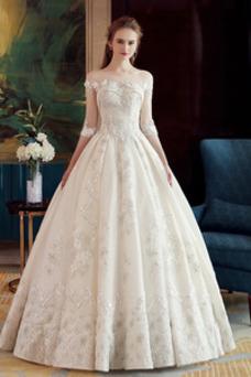 Robe de mariée Poire Salle Automne Manche Aérienne Couvert de Dentelle