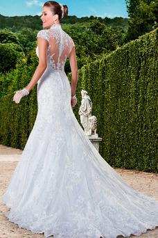 Robe de mariée Tissu Dentelle Taille Naturel Col Élisabéthain Salle