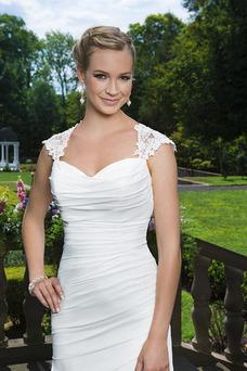 Robe de mariée Automne Col Élisabéthain Gaze Mousseline De plein air