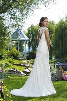 Robe de mariée Printemps Dentelle Mancheron Avec voile Traîne Mi-longue