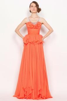 Robe de soirée Mousseline Rouge orange Perle Taille Naturel Automne