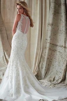 Robe de mariée Sirène Tissu Dentelle Sans Ceinture Appliques Trou De Serrure