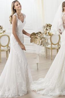 Robe de mariée Tissu Dentelle Gaze Triangle Inversé Longue Col en V