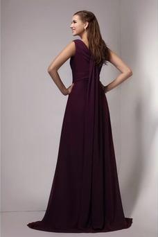 Robe demoiselle d'honneur Au Drapée Printemps Milieu Taille Naturel Mousseline