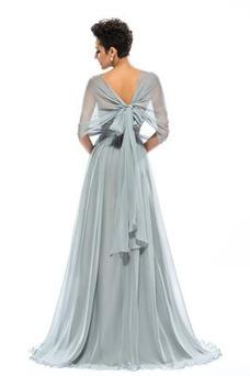 Robe de soirée Mousseline Fourreau plissé A-ligne Dolman Sleeves Elégant
