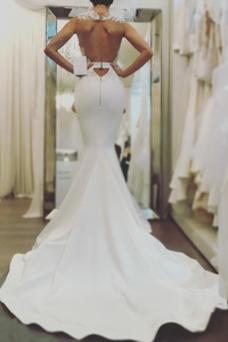Robe de mariée Sirène Sans Manches Elégant Longueur ras du Sol Triangle Inversé