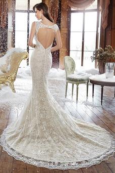 Robe de mariée Sans Manches Sirène Appliques Traîne Mi-longue Larges Bretelles