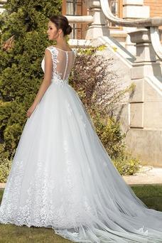 Robe de mariée Sans Manches Col Bateau De plein air Longue Zip A-ligne