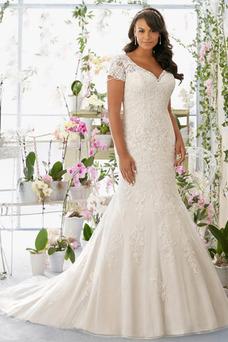 Robe de mariée Tissu Dentelle Col en V Longue Milieu Sirène Taille Naturel