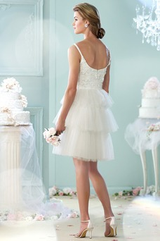 Robe de mariée Informel Taille Naturel Gradins A-ligne Col U Profond