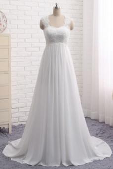 Robe de mariée Empire Larges Bretelles Taille Naturel Traîne Mi-longue