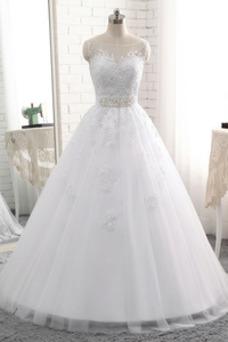 Robe de mariée Lacet Rectangulaire Printemps Col Bateau Tulle Ceinture en Étoffe