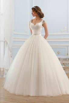 Robe de mariée A-ligne Salle Mancheron Col en V Traîne Courte Dos nu