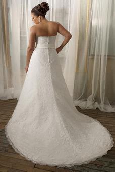 Robe de mariée Grandes Tailles A-ligne Fleurs Couvert de Dentelle