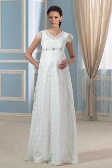 Robe de mariée Grandes Tailles Été Mancheron Empire Longueur ras du Sol
