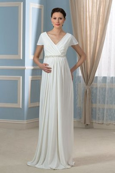 Robe de mariée Empire Fourreau plissé Perle Plage Printemps Col en V