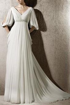Robe de mariée Dos nu Traîne Courte Mousseline Taille Empire Manquant
