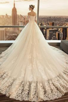Robe de mariée A-ligne Longue Manche de T-shirt Col en Cœur Perle