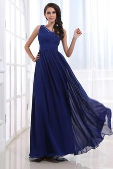 Robe de soirée Fourreau plissé Bleu de minuit Taille Naturel Milieu