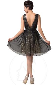 Robe de gala Manquant Longueur Genou Été Pailleté Glamour Sans Manches
