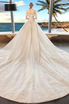 Robe de mariée Lacet Épaule Dégagée A-ligne Taille Naturel Manquant