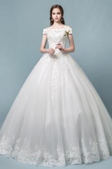 Robe de mariée Elégant Manquant Taille Naturel Traîne Courte Épaule Dégagée