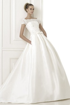 Robe de mariée Col Bateau Taille chute Nœud à Boucles Salle Manche Courte