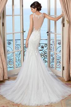 Robe de mariée Longue Tissu Dentelle Dentelle Haute Couvert Sirène