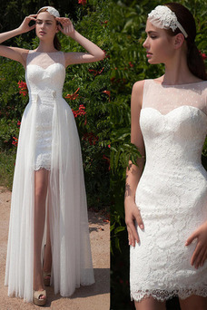 Robe de mariée Tulle Asymétrique Col Bateau Traîne Panneau Printemps