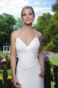 Robe de mariée Fourreau De plein air Taille Naturel Plissé Zip Été