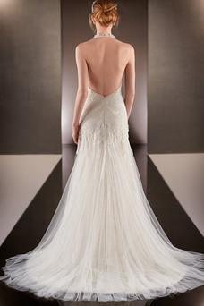 Robe de mariée Licou Dos nu De plein air Tissu Dentelle Printemps