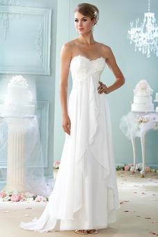 Robe de mariée Plage Tissu Dentelle Couvert de Dentelle Sans Manches