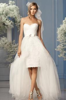 Robe de mariée Taille Naturel Ceinture en Étoffe Glamour Plage Zip