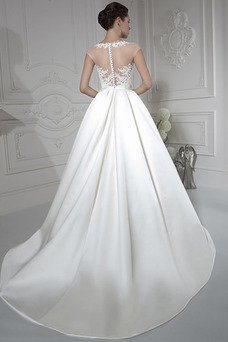 Robe de mariée Princesse Gaze Manche Courte Satin Taille Naturel Ceinture en Étoffe