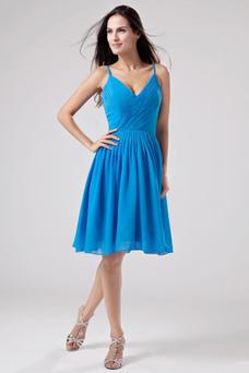 Robe demoiselle d'honneur Bleu Sans Manches Longueur Genou Été Zip A-ligne