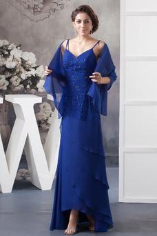Robe mère de mariée Perle Mousseline Asymétrique Avec châle Taille Naturel
