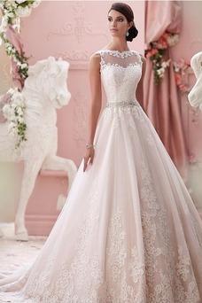 Robe de mariée Taille Naturel Haute Couvert Sans Manches Appliques
