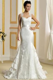 Robe de mariée Salle Manquant Tissu Dentelle Larges Bretelles Luxe