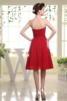 Robe rouge de demoiselle d'honneur Bustier Mousseline Informel Nœud à Boucles