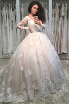 Robe de mariée Couvert de Dentelle Manche Longue Salle Col en V Traîne Longue