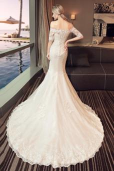Robe de mariée Taille Naturel Satin Lacet Épaule Dégagée Dentelle