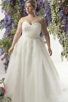 Robe de mariée Traîne Mi-longue Chic Automne Lacet Tulle Taille Naturel
