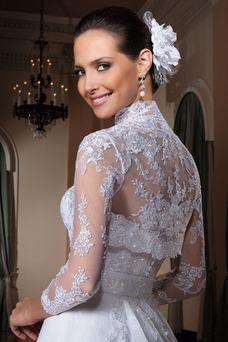Robe de mariée Tissu Dentelle Avec Jacket Taille Naturel Dentelle