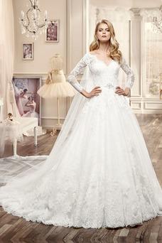 Robe de mariée Taille Naturel Zip Manche Aérienne Épaule Dégagée Mode de Bal