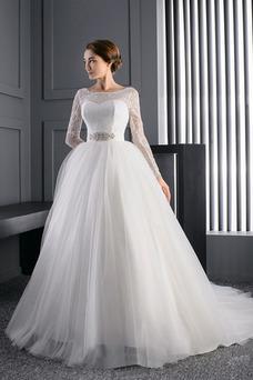 Robe de mariée Princesse Manche Aérienne Formelle Longue Col Bateau