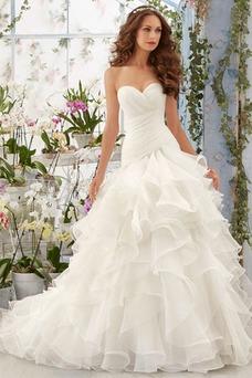 Robe de mariée Hiver Salle Sirène Ruches Satin Col en Cœur