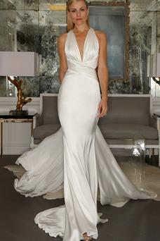 Robe de mariée Simple Fourreau Licou Satin Élastique Milieu Longue