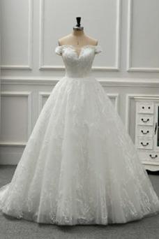 Robe de mariée Vintage Manche Courte Tulle Mancheron Au Drapée Taille Naturel