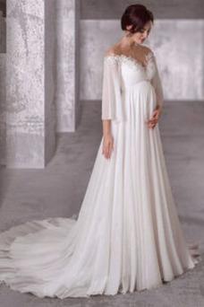 Robe de mariée Empire Lacet Épaule Dégagée Longue Simple Manche Lâche
